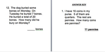 Unknown Parts Word Problems - VA SOL 2.21 2nd, 3rd etc... Common Core