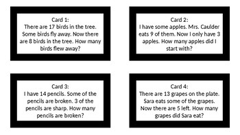 Unknown Subtraction Math Task Cards with Answer Key