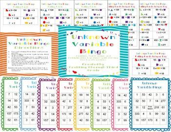 Unknown Variable Bingo/ Missing Number Bingo