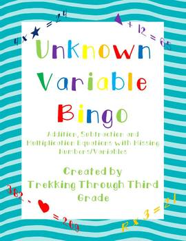 Unknown Variable Bingo/ Missing Number Bingo