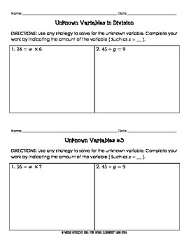 Unknown Variables in Division