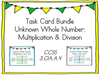 Unknown Whole Number Task Card Bundle