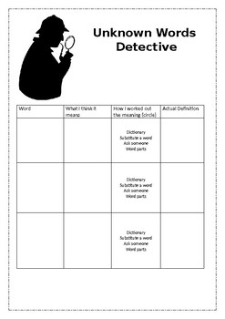 Unknown Words Detective Freebie Reading Strategy