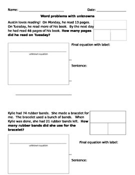Unknown addition and subtraction worksheet
