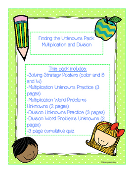 Find the Unknowns Pack: Multiplication and Division