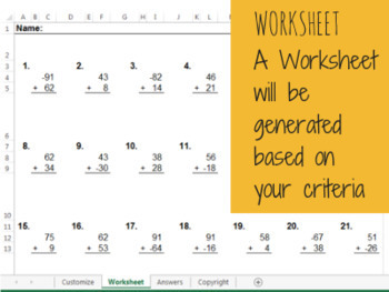 Unlimited Customizable Basic Math Worksheets