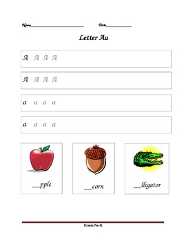 Unlined Handwriting Worksheet- Letter Aa