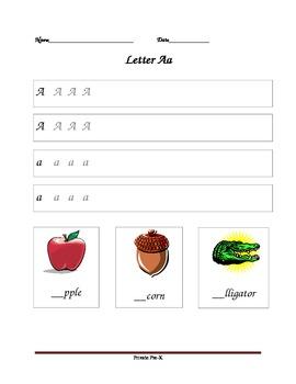 Unlined Handwriting Worksheet- Letter Aa