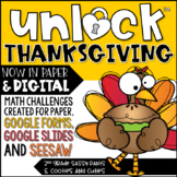 Unlock Thanksgiving | Thanksgiving Game | Editable | Math Game