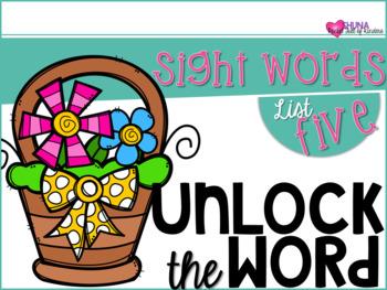 Unlock The Sight Words {List Five}