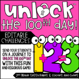 Unlock the 100th Day | 100th Day of School | Math Games | Editable Challenges