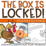 Unlock the Box! Thanksgiving Math Activity {Addition, Subtraction w/ Regrouping}