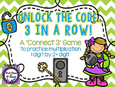 Unlock the Code... 3 in a Row! (Multiplying 1 digit by 2 digits)