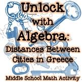 Unlock with Algebra: Distances Between Cities in Greece