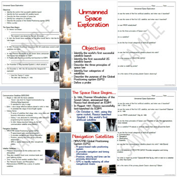 Unmanned Space Environment: PowerPoint, Student Guided Notes, Worksheet