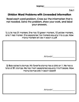 Unneeded Information in Word Problems