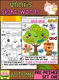Unni's Autumn Fall Sight Words - Pre Primer List 1