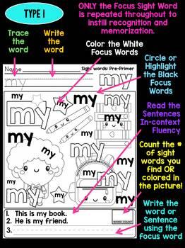 Unni's Autumn Fall Sight Words - Pre Primer List 3 : Word Work, Fluency, Color