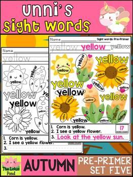 Unni's Autumn Fall Sight Words - Pre Primer List 5