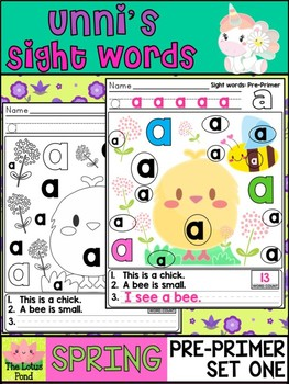 Unni's Spring Sight Words - Pre Primer List 1 : Word Work, Practice Worksheets