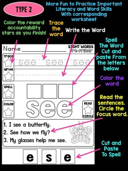 Unni's Spring Sight Words - Pre Primer List 4 : Word Work, Practice Worksheets