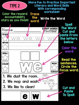 Unni's Spring Sight Words - Pre Primer List 5 : Word Work, Practice Worksheets