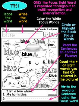 Unni's Summer Sight Words - Pre Primer List 1 : Word Work, Fluency, Color