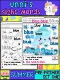 Unni's Summer Sight Words - Pre Primer List 1 : Word Work, Fluency, Color