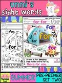 Unni's Summer Sight Words - Pre Primer List 2 : Word Work, Fluency, Color