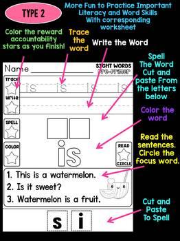Unni's Summer Sight Words - Pre Primer List 3 : Word Work, Fluency, Color