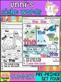 Unni's Summer Sight Words - Pre Primer List 4 : Word Work, Fluency, Activities