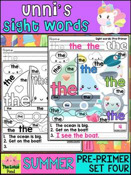 Unni's Summer Sight Words - Pre Primer List 4 : Word Work, Fluency, Activities