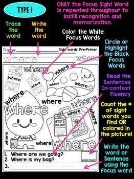 Unni's Summer Sight Words - Pre Primer List 5 : Word Work, Reading, Activities