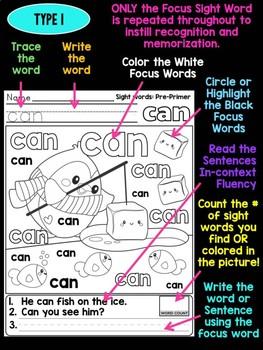 Unni's Winter Sight Words - Pre Primer List 1 : Word Work, Practice Worksheets