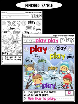 Unni's Winter Sight Words - Pre Primer List 4 : Word Work, Practice Worksheets