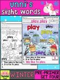 Unni's Winter Sight Words - Pre Primer List 4 : Word Work,