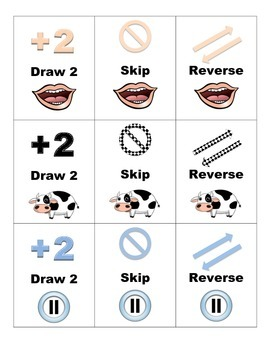 Uno-Style Game for Vowel Teams au, aw, ou and ow