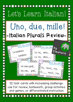 Uno, due , mille! - Italian Plurals Task Cards