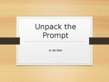 Unpack the Prompt: Writing Controlling Statements (FSA Writing Review Activity)