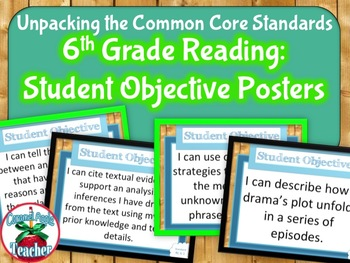 Unpacking Common Core Standards: 6th Grade Reading Student Objective Posters