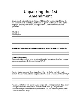 Unpacking Document: 1st Amendment