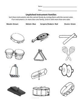 Unpitched Instrument Family Sort