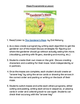 "Unplugged Coding Programming Lesson Game ""The Gardener's Maze"""