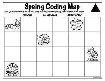 Spring Unplugged Coding Worksheets Differentiated