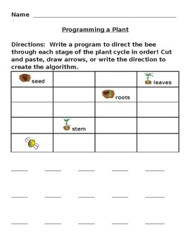 Unplugged Programming Coding Game Plants Integrated Lesson EDITABLE