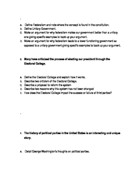 Unpublished AP Government and Politics Essay Questions