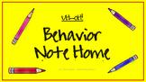 Unsatisfactory Behavior Note