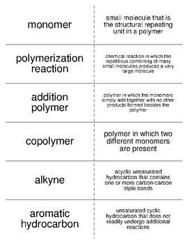 Unsaturated Hydrocarbons Vocabulary Flash Cards for Organic Chemistry