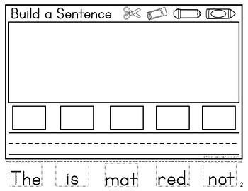 "Sight Words & Short ""A"" CVC Words Unscramble & Build a Sentence"