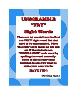 "Unscramble ""FRY"" Sight Words"